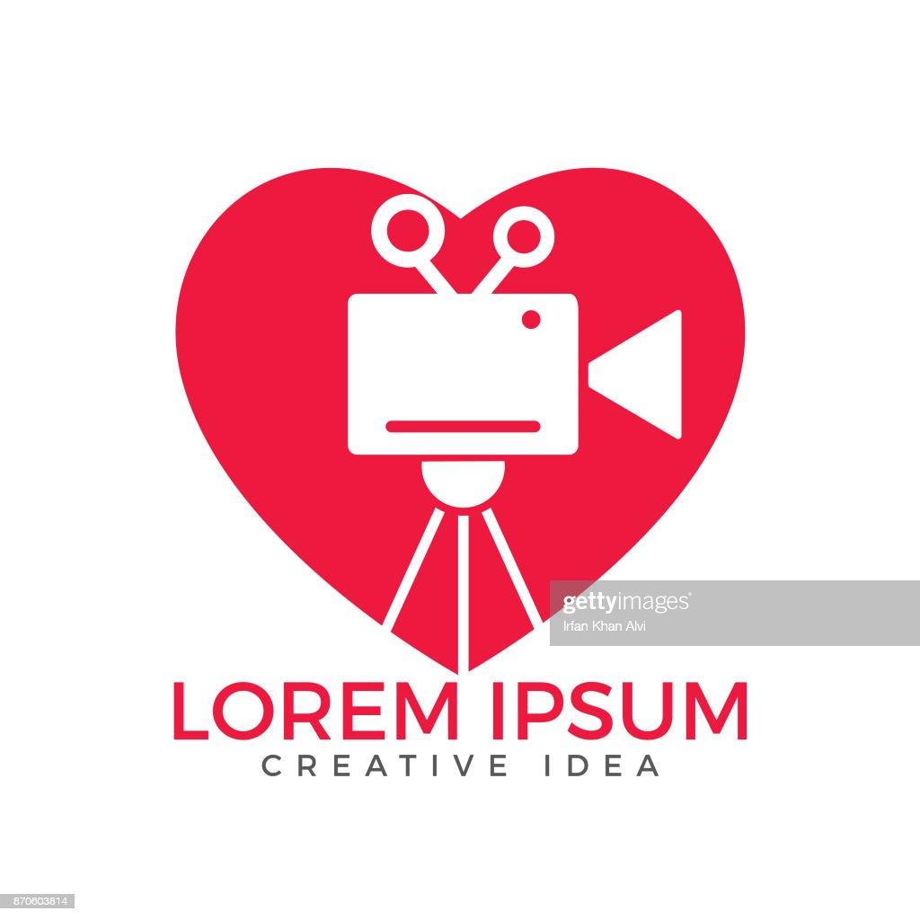 Heart & film or movie cam vector design.
