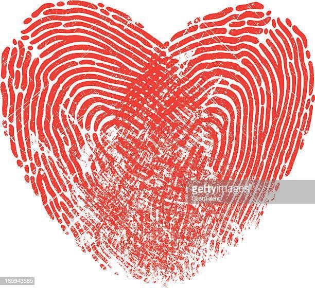 ilustraciones, imágenes clip art, dibujos animados e iconos de stock de corazón la huella digital - huella dactilar