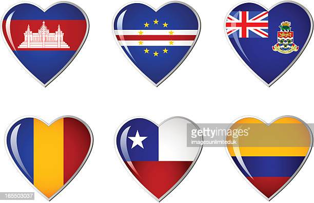 ilustrações, clipart, desenhos animados e ícones de coração bandeira collection - cabo verde