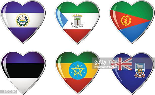 heart flag collection - medium group of objects stock illustrations, clip art, cartoons, & icons