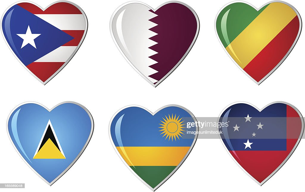 Heart Flags Collection : stock illustration