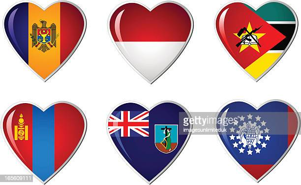 herz flaggen-kollektion - monaco stock-grafiken, -clipart, -cartoons und -symbole