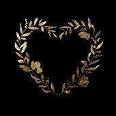 Heart Floral Wreath - Gold Leaf Metallic Foil