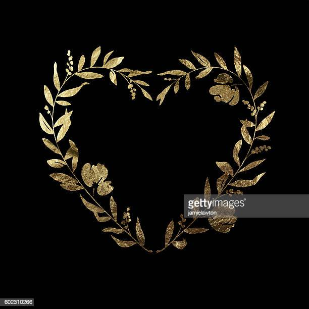 Heart Floral Wreath - Gold Leaf Metallic Foil