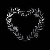 Heart Floral Wreath - Silver Leaf Metallic Foil
