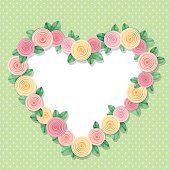 Heart frame decorated with roses on polka dots. With copy space for text or photo. Shabby chic design.