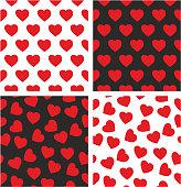 Heart Freehand Aligned & Random Seamless Pattern Set