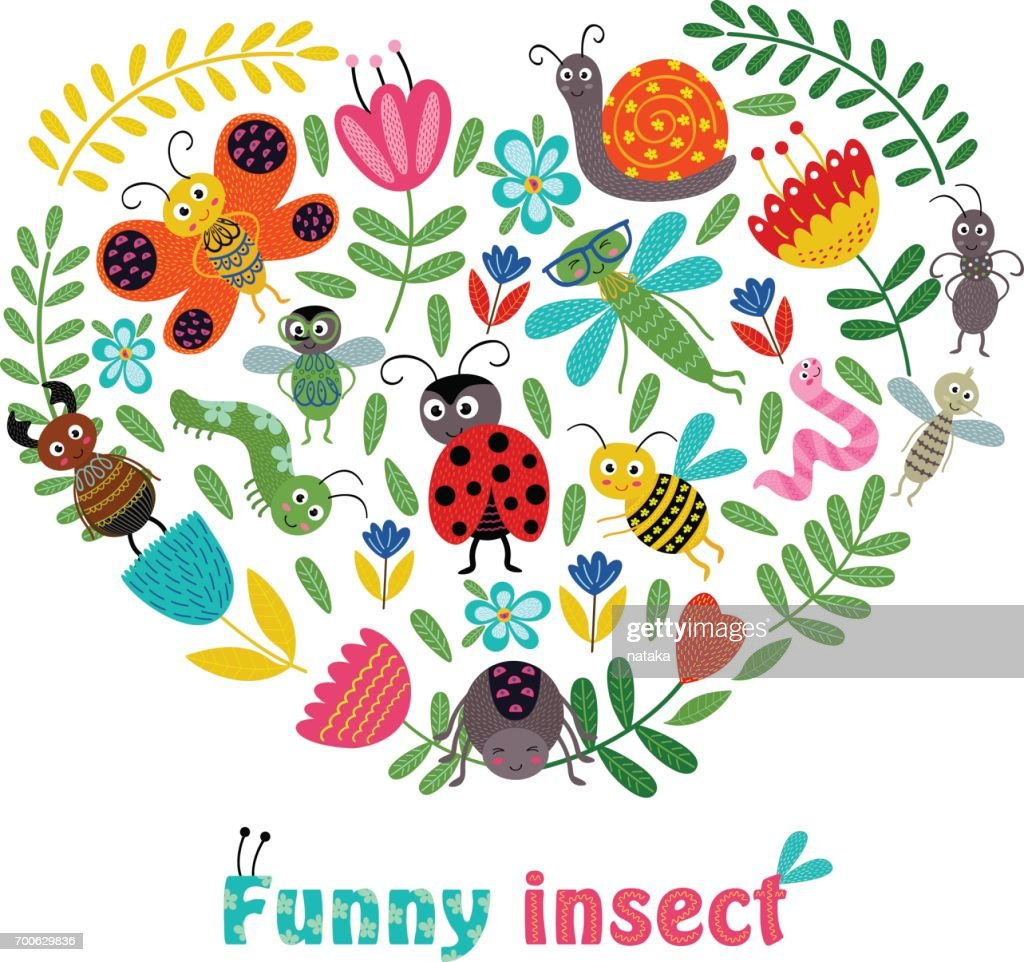 heart funny insect and plants