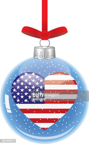usa heart glass christmas ornament - patriotic christmas stock illustrations