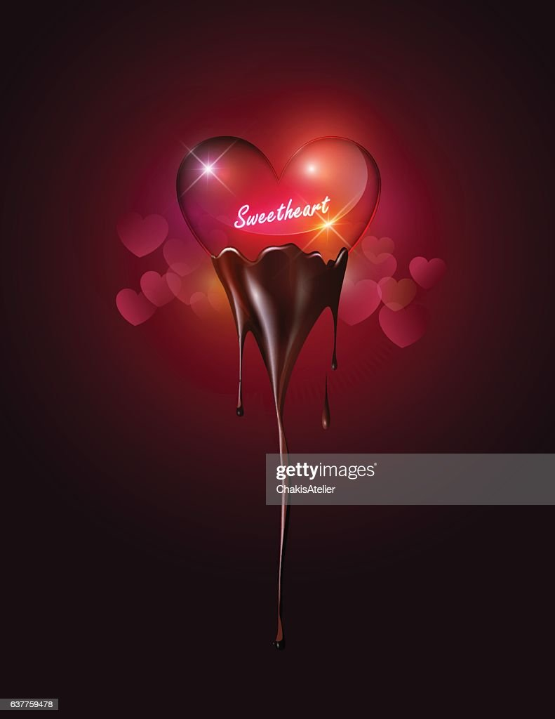 Heart glass dipping melted chocolate, sweetheart concept, valentine's day, vector