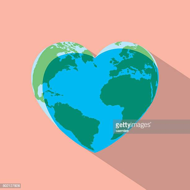 heart globe - relief carving stock illustrations