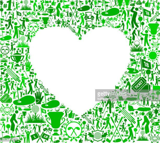 heart golf and golfing vector icons background - beating heart stock illustrations