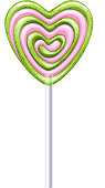 Heart gren and pink lollipop candy vector illustration.