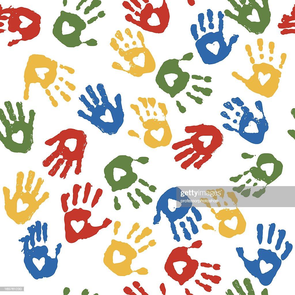 Heart Handprint Seamless Pattern