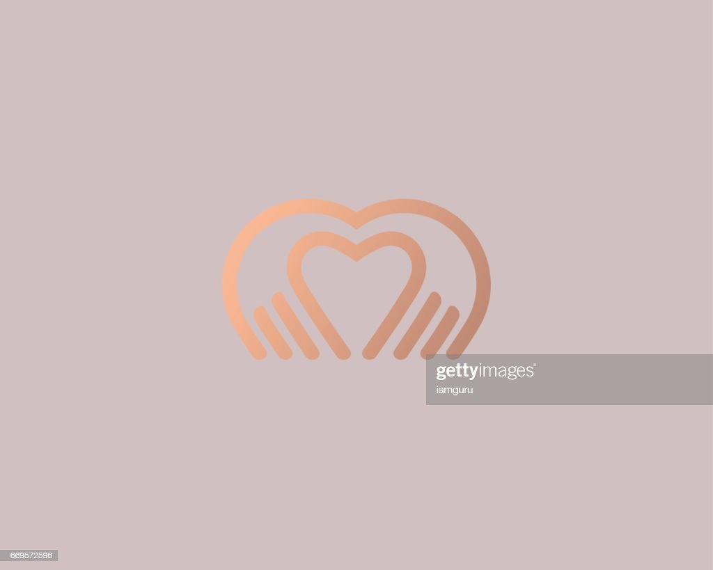 Heart hands vector logotype. Palm love logo icon design.