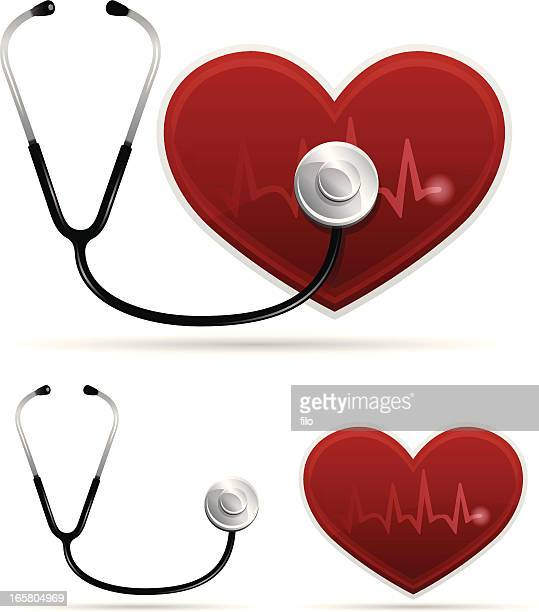 heart health - listening to heartbeat stock illustrations, clip art, cartoons, & icons