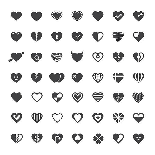 heart icon 49 icons - heart shape stock illustrations