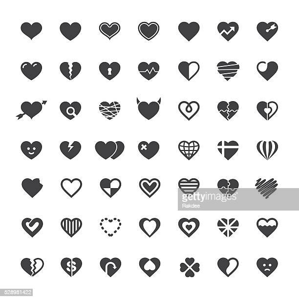 heart icon 49 icons - heart shape stock illustrations