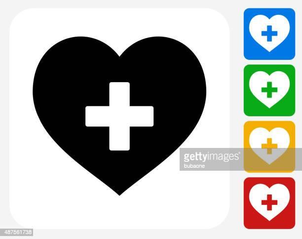 心臓のグラフィックデザインアイコンフラット - 十字形点のイラスト素材/クリップアート素材/マンガ素材/アイコン素材