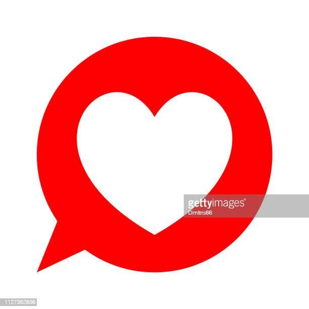 illustrazioni stock, clip art, cartoni animati e icone di tendenza di heart icon in red speech bubble. flat vector design. - passione