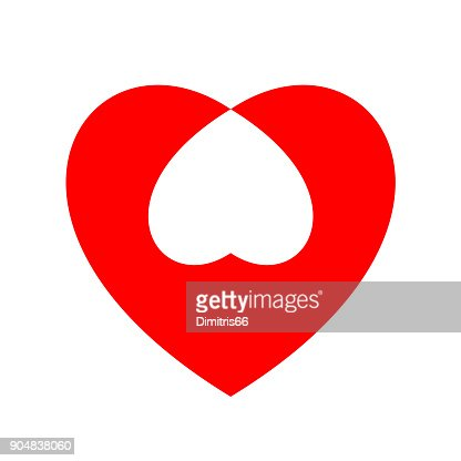 Heart Icon Intersection Minimal Flat Red Love Symbol Vector Art