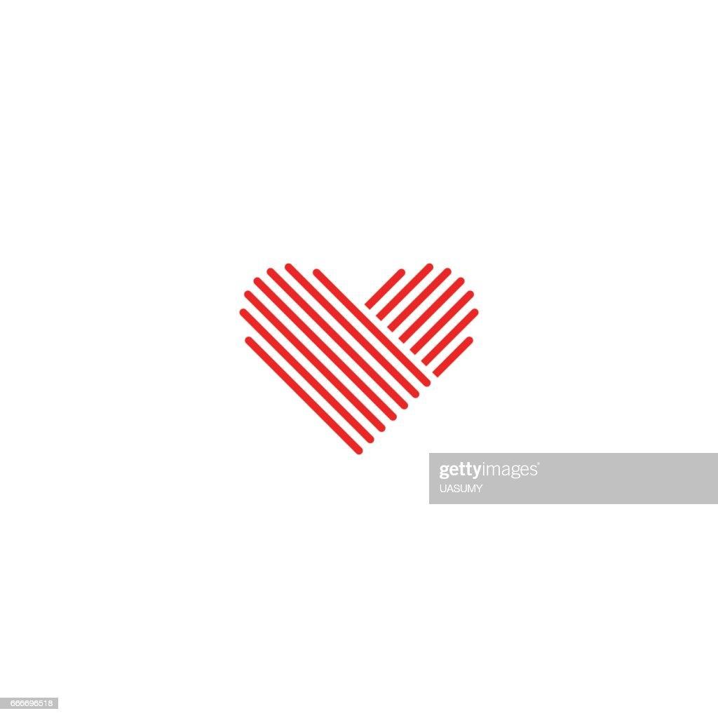 Heart icon medical red emblem, design element wedding sign, mockup romantic thin line monogram