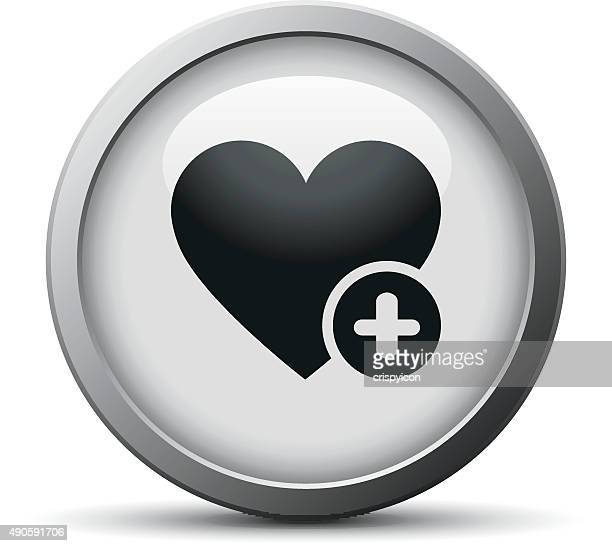 Heart icon on a silver button. - SilverSeries