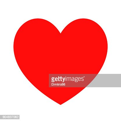 Heart Icon On White Background Minimal Flat Red Love Symbol Vector
