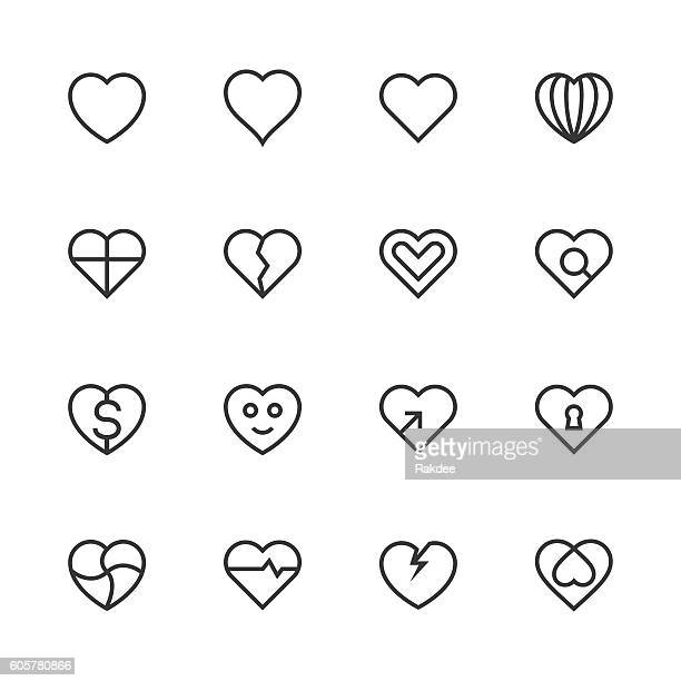 heart icon set 1 - line series - heart symbol stock illustrations