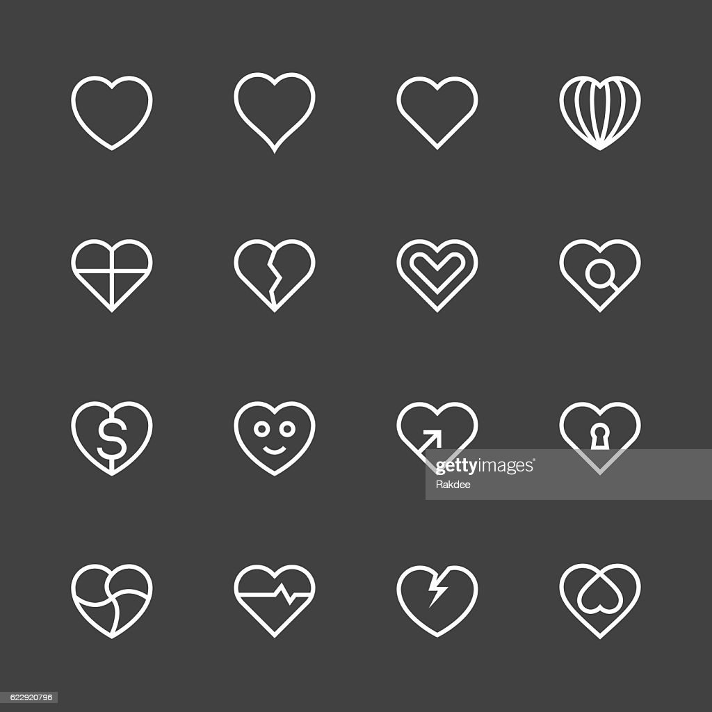 Heart Icon Set 1 - White Line Series : stock illustration