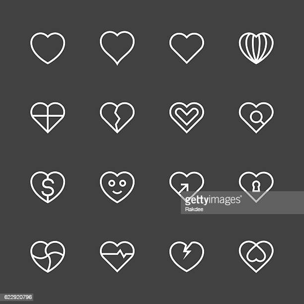 Heart Icon Set 1 - White Line Series