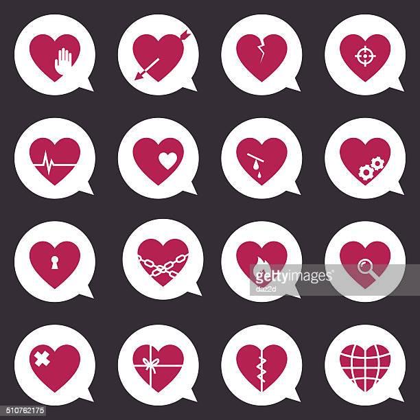Coração ícone conjunto