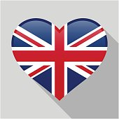 Heart icon with a combination of United Kingdom country flag