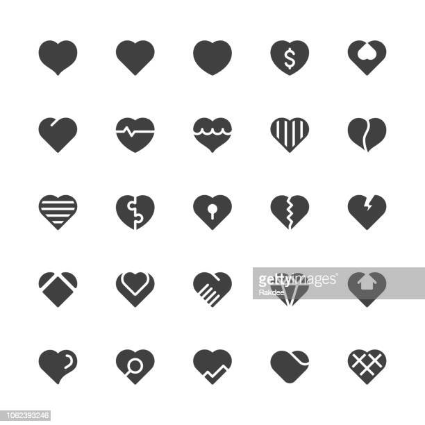 heart icons - gray series - heart shape stock illustrations