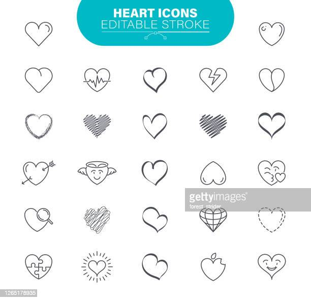 heart icons. in set icon as love, charity, doodle, drawing - art product, - drawing art product stock illustrations