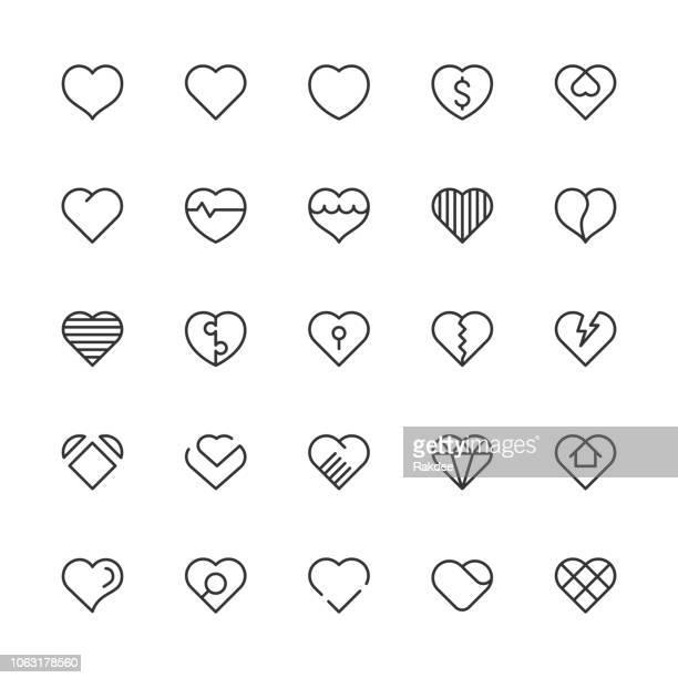heart icons - light line series - heart shape stock illustrations