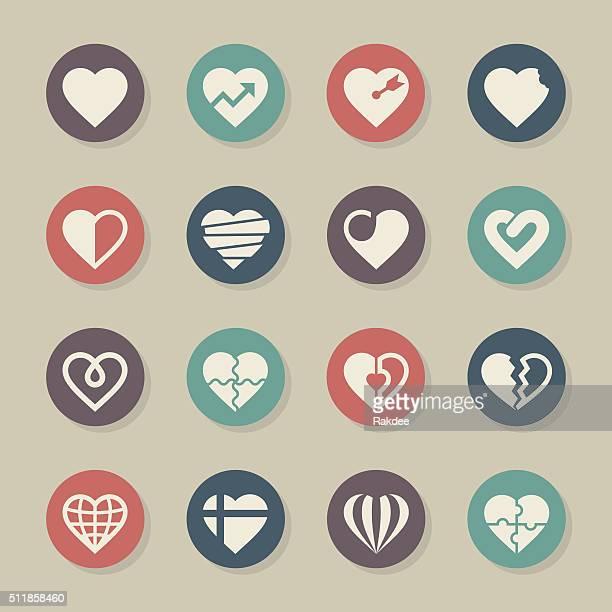 ilustraciones, imágenes clip art, dibujos animados e iconos de stock de conjunto de iconos de corazón de color círculo serie 2 - enfermedad de la piel