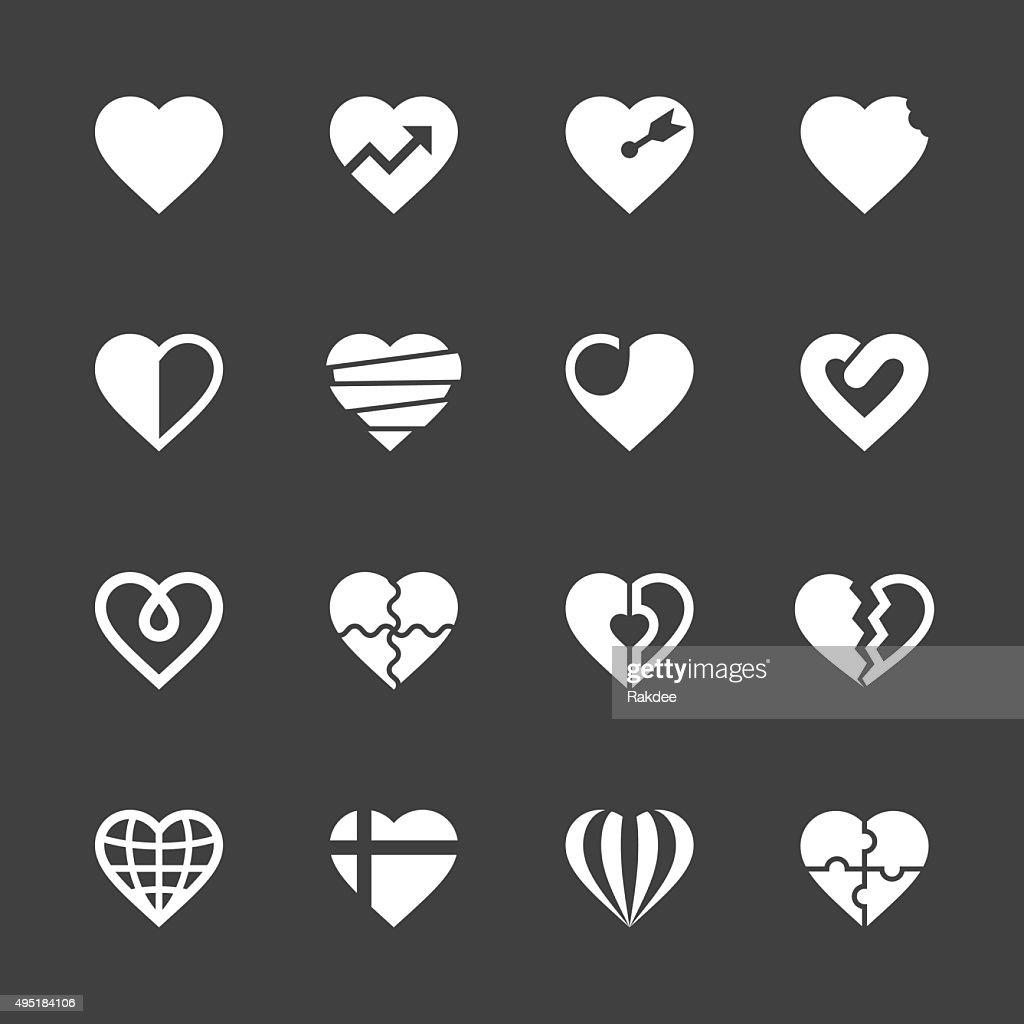 Heart Icons Set 2 - White Series