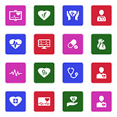 Heart Icons. White Flat Design In Square. Vector Illustration.