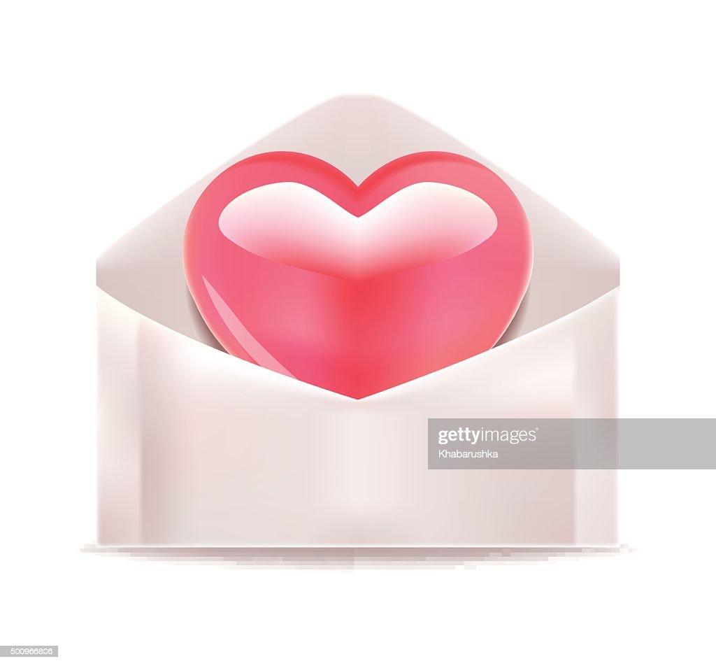 Heart in Envelope. Vector Illustration