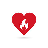 heart in fire symbol, vector