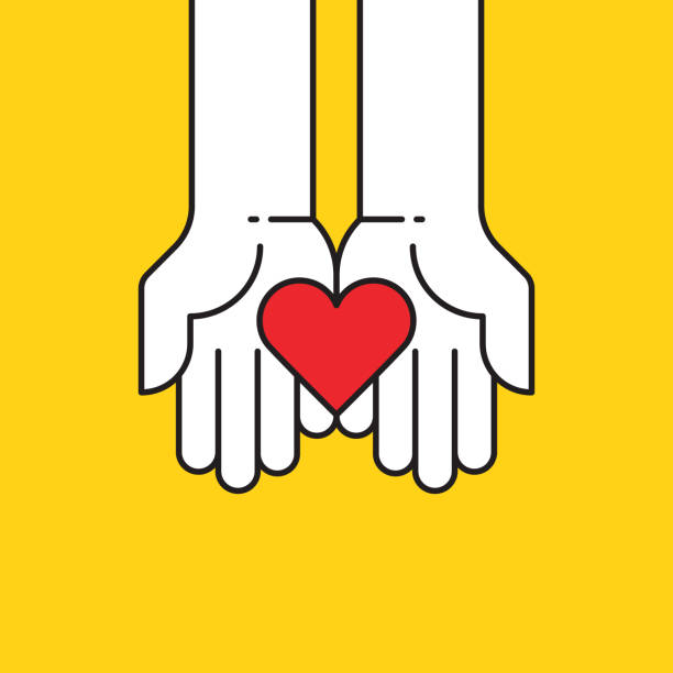 heart in hands icon - heart shape stock illustrations