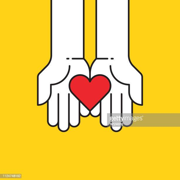 heart in hands icon - hand stock illustrations