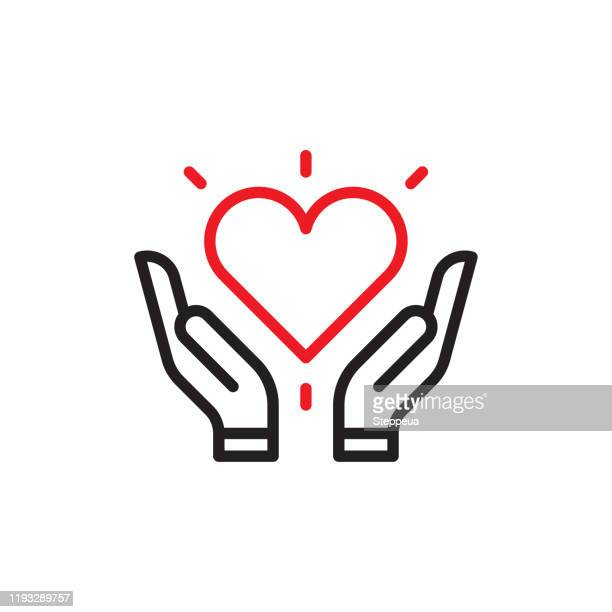 heart in hands - giving tuesday stock illustrations
