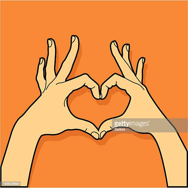 heart in hands - sign language stock illustrations, clip art, cartoons, & icons