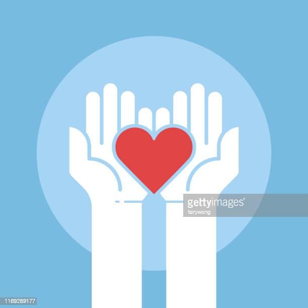 ilustrações, clipart, desenhos animados e ícones de coração nas mãos, conceito da doação, ilustração do vetor - assistência