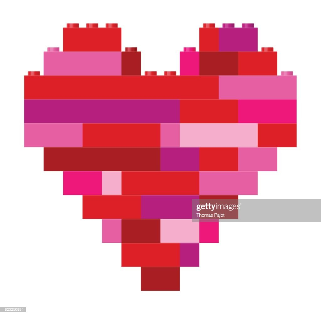 Heart in pink and red building block toys