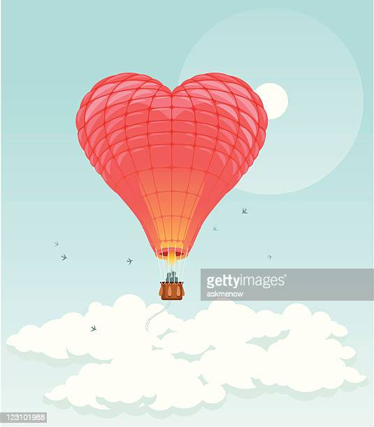 heart in sky - hot air balloon stock illustrations, clip art, cartoons, & icons