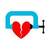 Heart in vise isolated. join broken love