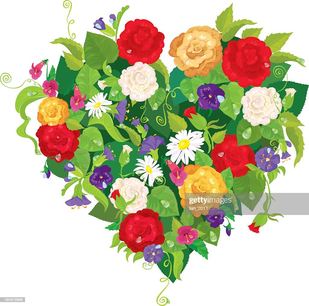 Heart is made of beautiful flowers valentines day card vector art heart is made of beautiful flowers valentines day card vector art izmirmasajfo
